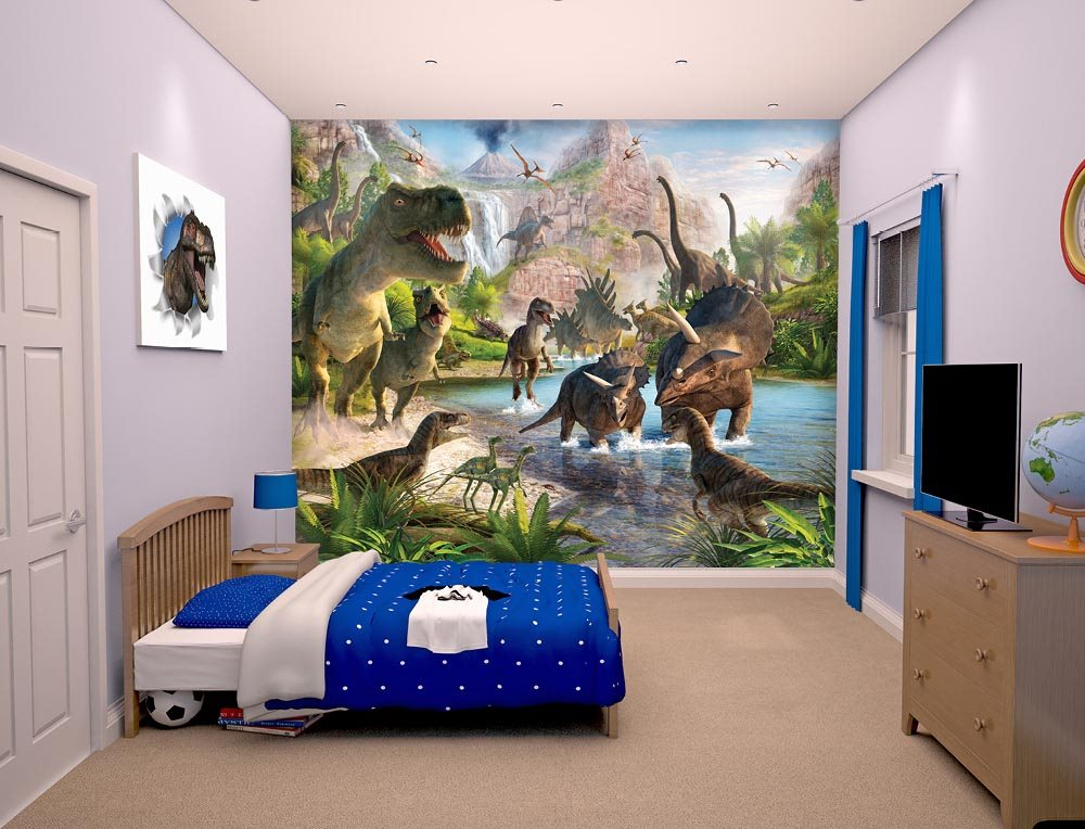 Dinosaur wall mural for Dinosaur mural ideas